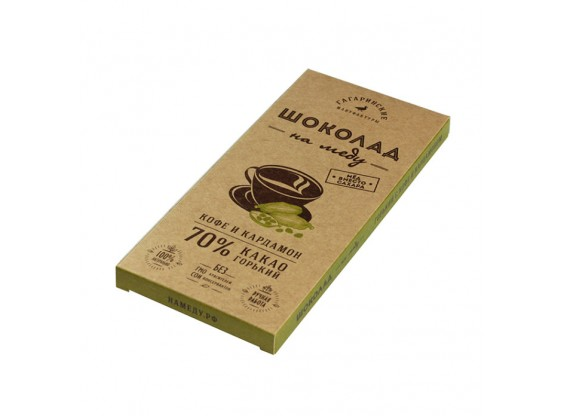 Шоколад На Меду горький КОФЕ И КАРДАМОН 70% какао (Гагаринские мануфактуры)